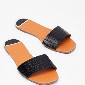 Nasty Gal Leather Black Slip On sandals Size 7